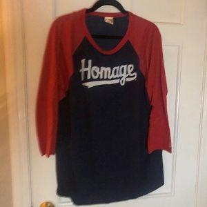 NWOT HOMAGE Script Raglan Baseball Style T-Shirt